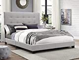 Modern Style Gray Platform Bed Frame with Headboad - Sturdy Frame, Convenient, Comfortable, Free Noise and Easy Assemble - Multiful Sizes (Queen)