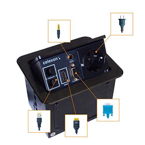 celexon Expert Tischanschlussfeld TA-100B - schwarz - 157x131mm - HDMI - VGA - Audio-Stereo-Klinke 3,5mm - CAT6 - Strom