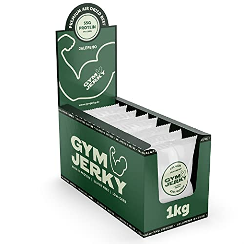 Gym Jerky Beef Jalapeno Cheeese 1kg - 25x40g High Protein - Low Fat & Low Carb - Deutsches Premium-Rindfleisch Made in Germany