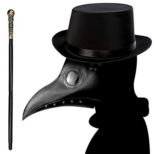 Maschera per dottore della peste di Lifreer + cappello superiore + canna da palmare, Halloween Cosplay costume puntelli