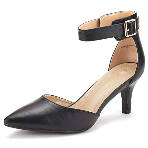 Dream Pairs Lowpointed Zapatos de Tacón Vestir para Mujer Negro PU 41 EU/10 US