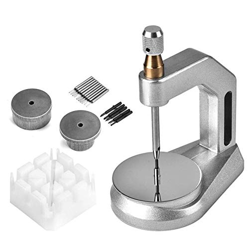 Uhrpresse-Werkzeugsatz Uhrenarmband-Stanzhalter zum Entfernen der Uhrenarmband-Stiftschrauben Multifunktions-Uhrwerkzeug (Farbe: Silber Größe: 135 cm)