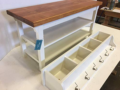 Hallway Mud Room Foyer Bench 46 Inch with Second Shoe Shelf and Matching Coat Rack Cubbie