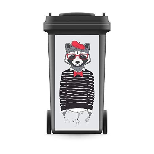 WERBEPUNKT. Mülltonnenaufkleber Mülltonne Mülleimer Abfalltonne Tier Waschbär Hipster- 720 x 320 mm