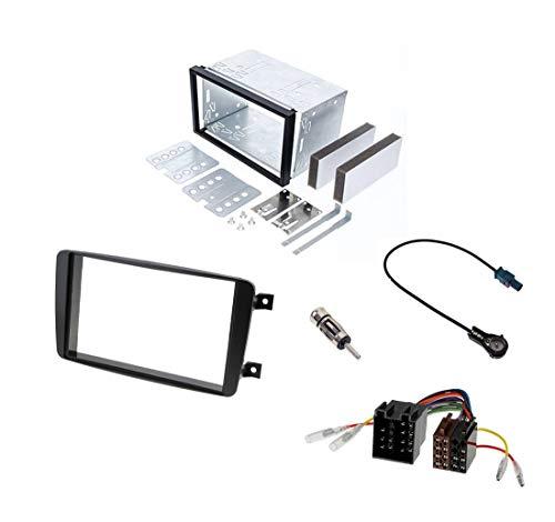 Audioproject A298 – Kit de montage d'autoradio double DIN Mercedes Classe C W203 CLK W209 Viano Vito Cadre de montage en métal Adaptateur radio 2 adaptateurs d'antenne ISO DIN