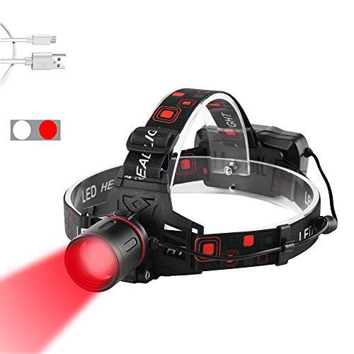 WESLITE Linterna Frontal Roja Recargable, Linternas Frontales Rojo LED Alta Potencia para Caza Linterna de Cabeza Roja con Zoom para Astronomía, Visión Nocturna y Caza (Luz Roja y Blanca)