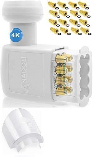 [Test 2X SEHR GUT ] Anadol Gold Line Octo LNB 0.1dB - extrem kälte & hitzebeständig (-30 bis 60°C)-für 8 Teilnehmer - Premium Qualität - LNB mit Gummitülle + 16 vergoldete F-Stecker + LNB Kappe