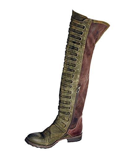 Minetom Damen Langschaft Stiefeletten Schlupfstiefel Mode FarbblockSchuhe Vintage Römisch Knie-Länge Stiefel Elegant Herbst Winter Boots Grün 40 EU