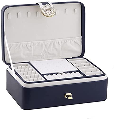 Whxl damas joyería caja nueva caja de joyería de cuero de dos capas caja de almacenamiento caja de almacenamiento regalo regalo damas de joyería de lujo simple