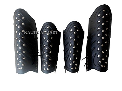 NauticalMart Leather Greek Armor Arm Guard Vambrace - Leg GURD Replica Armoury
