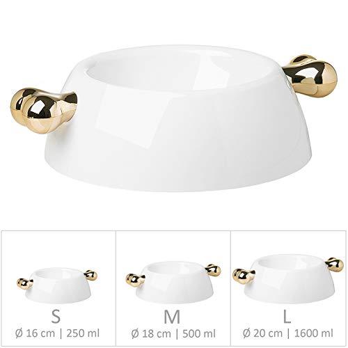 Bellomania Design Futternapf Fress-Napf für kleine, mittlere und große Hunde und Katzen rutschfester Hunde-Napf weiss | gold Gr. M