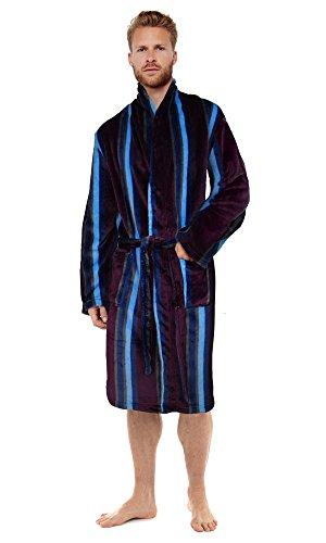 Hombre Ultra-morbido Bata de casa de Forro Polar Albornoz Bata Hombre cálido Invierno Estilo Burgundy/Blue/Navy Large/X-Large
