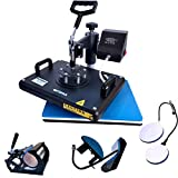 BetterSub Heat Press 12x15 Inch Combo 5 in 1 Heat Press Machine for T-Shirt Mug Hat Plate Cap Pattern Printing Heat Transfer Digital Industrial-Quality Sublimation Machine 360 Degree Swivel