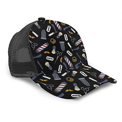 Inaayayi Unisex-Baseballkappe, Barber Store, Hot Salon, Barber, Friseur, Netz, Trucker, Mütze, Kappen, für Männer und Frauen, verstellbarer Riemen, schwarz