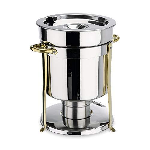 WAS 1460 650 Chromnickelstahl Suppen Chafng Dish mit Brennpastenbehältern, Beschläge Goldfarben, 6.5 ltr, Ø 33 cm, 24 cm Höhe