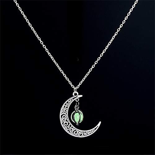 N/X Halskette Glühen Schmuck Perlen Mond Halskette versilbert Halskette leuchtet in dunklen Anhänger Halskette Kragen