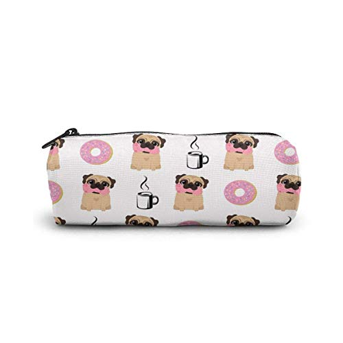 Yuanmeiju Pen Bag Funny Vector Dogs Pug Puppies Pattern Donut Coffee Astuccio Glasses Case Tote Cosmetic Bags Eyeglasses Case for Girls Boys Sunglasses Holder with Zipper
