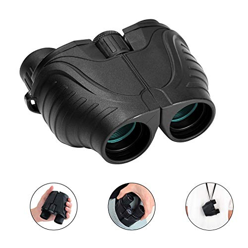 RONHAN Binoculars for Adults Kids Compact Lightweight,12x25 Small Folding High Power Binoculars Waterproof Telescope with Low Night Vision HD BAK4 for Bird Watching, Hunting, Theater, Concerts(Black)