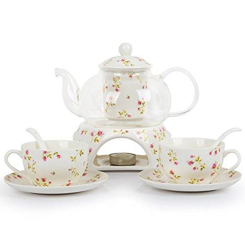ufengke-ts 6 Stück Europäischen Modern Florales Tee Set, Beheizte Glas Teekanne, Bone China Tee Set Service Kaffee Set, Für Geschenk Und Haushalt, Hochzeit