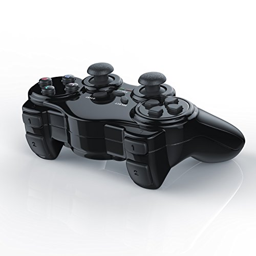 CSL - Wireless Gamepad für Playstation 2 PS2 mit Dual Vibration - Joypad Controller - neues Modell - schwarz