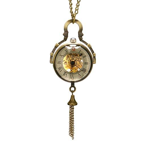 J-Love Reloj de Bolsillo Steampunk Bola de Cristal Transparente Colgante mecánico Cadena de Reloj de Bolsillo Nuevo para Hombre