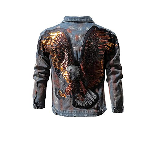 Sequins Eagle Punk Denim Chaqueta Hombres Hip Hop Streetwear Moda Jeans Chaqueta Azul Bordado Slim Denim Chaqueta