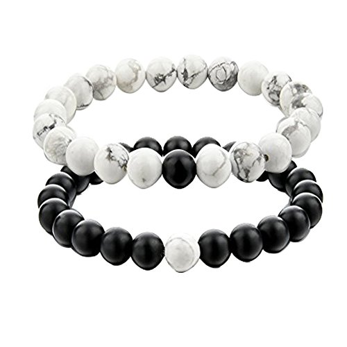 UEUC Couples His and Hers Bracelet Black Matte Agate & Colorful Weathering Scrub Agate 8mm Beads (Purple)