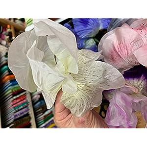 "Silk Flower Arrangements for Vintage Iris 7"" Flower Hand Made Silk 1pc German Democratic Republic Craft Ribbon for Crafts - Vintage Flower & Leaves Spray is Cream White"