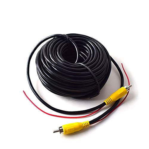 Coche RCA Vídeo Cable para Reversa Vista Trasera Aparcamiento Cámara con Detección Alambre Inversa Gatillo Plomo - 15 Metros / 50FT