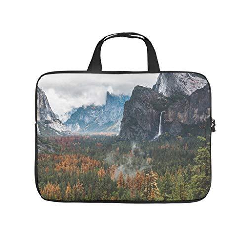 Funda para portátil ligera de neopreno, diseño de paisaje bosque y montañas, con impresión 3D