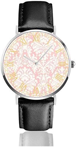 Reloj Simple Rosa Damasco Relojes de Pulsera Cuarzo Acero Inoxidable y Cuero de PU para Unisex
