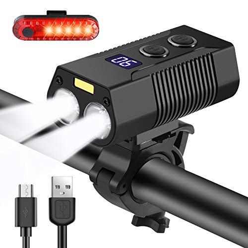 Nestling®Luces Bicicleta,1800 lúmenes 4000mAh USB Recargables Luces de Bicicleta 5 Modos con luz Auxiliar, Luces de Bicicleta Impermeables IP6,luz de Bicicleta para Carretera y montaña