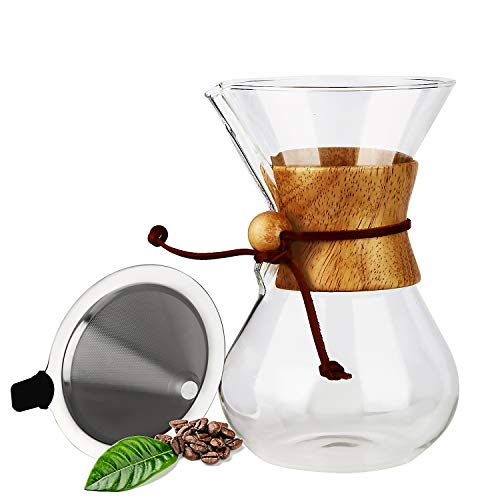 Pour Over Coffee Maker, OAMCEG 28 oz Borosilicate Glass Carafe and Reusable Stainless Steel Permanent Filter Manual Coffee Dripper Brewer with Real Wood Sleeve