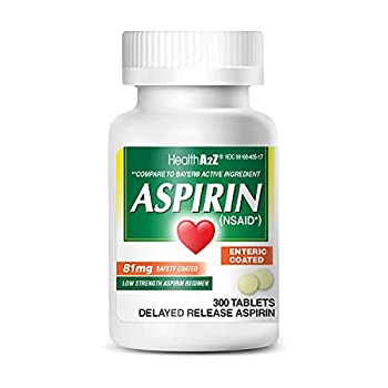 HealthA2Z Aspirin 81mg Low Strength Enteric Coated 300 Tablets Compared to Bayer Active Ingredient