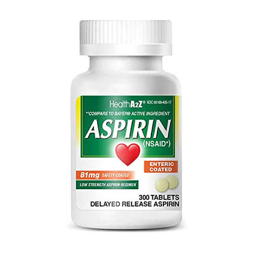 HealthA2Z Aspirin 81mg Low Strength, Enteric Coated, 300 Tablets, Compared to Bayer Active Ingredient