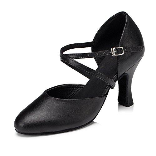 Minitoo Damen Kreuz Leder Gitarrengurt Latin Salsa Ballroom Dance Schuhe, Schwarz - Black-8cm Heel - Größe: 39 / 6 UK
