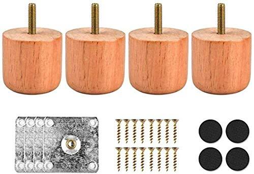 Juego de 4 patas de madera para muebles, cilindro sólido de repuesto con tornillos de placa de montaje para sofá, cama, gabinete otomano