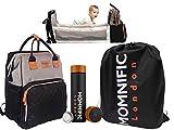 MOMNIFIC Wickeltasche Rucksack mit Babybett & Smart Wasserflasche/Premium Babyreisetasche mit faltbarem Babybett, Wickelauflage & Thermoskanne/Stilvolle multifunktionale Wickeltasche