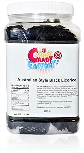 Sarah's Candy Factory Australian Style Black Licorice in Jar, 2.5 Lbs