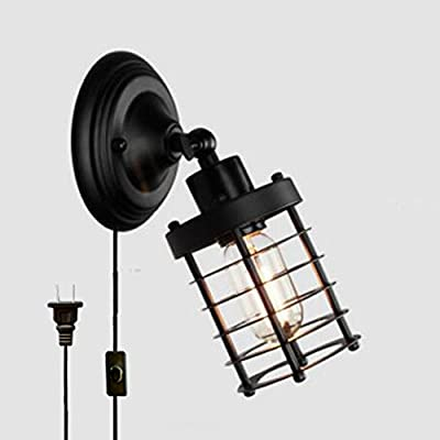 Kiven Iron Cage Wall Socket Plug-In Wall Sconce Lighting For Living Room With On/Off Switch Cord Bulb Included