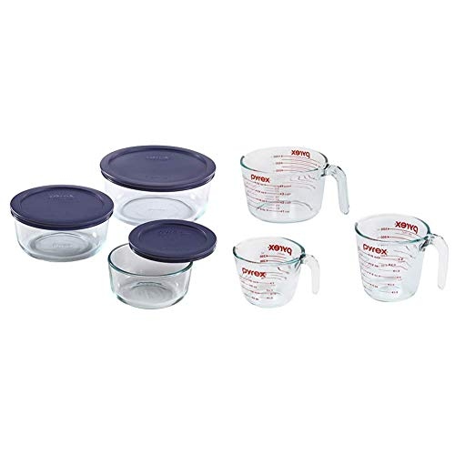 Pyrex Simply Store Meal Prep Glass Food Storage Containers (6-Piece Set, BPA Free Lids, Oven Safe) & Glass Measuring Cup Set (3-Piece, Microwave and Oven Safe),Clear