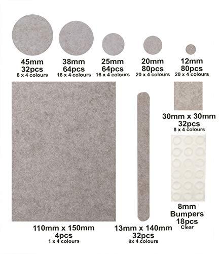 Filzgleiter Set 406 St - fliz pads - 4 Farben Sortiment Filzunterleger Pads selbstklebend 9 Größen & Formen Möbelgleiter Filz für Möbel-Füße Bodengleiter Stuhlgleiter