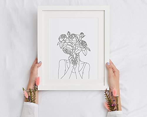 Rosenkopf Kunstdruck | Frauen- und Blumenplakat-Rosenstrauß-Wandkunst | Strichzeichnung Rosen | Druckbare Blumenlinie Kunstwerke, Familie Rahmenlose dekorative Malerei A67 40x60cm