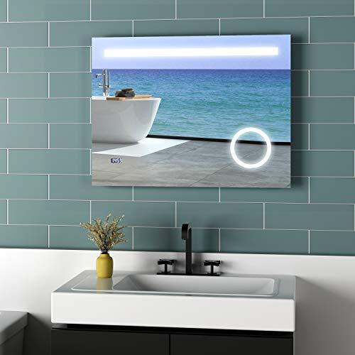 Meykoers LED Beleuchtung Badspiegel 80x60cm Spiegel mit 3-Fach Vergrößerung, Uhr und Sensor-Schalter, Lichtspiegel Kaltweiß 6400K Energieklasse A++