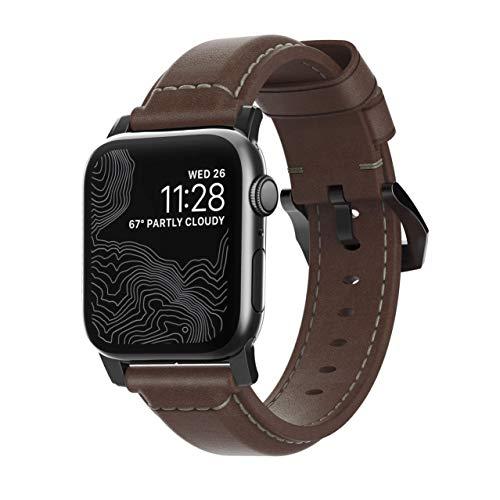 Nomad - Correa Tradicional para Apple Watch de 40 mm y 38 mm, Piel marrón rústico, Hardware Negro