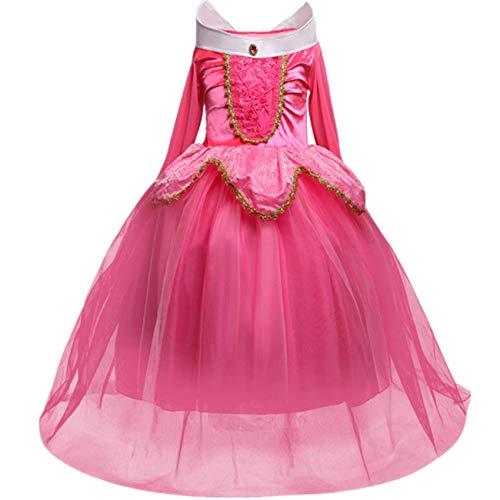 O.AMBW Vestido de Princesa para niña Bella Durmiente Princesa Aurora Disfraz Rosa Azul Vestido de Manga Larga niños Fiesta de Carnaval de Halloween Cosplay Disfraz Accesorios Guantes Corona Collar
