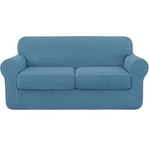 subrtex Fundas Sofa Elasticas con Funda de Asiento Separados(2 Plazas,Azul)