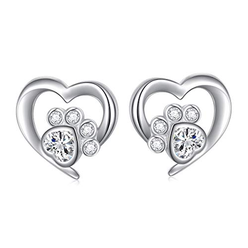 S925 Sterling Silver Cute Heart White CZ Cat Puppy Paw Print Stud Earrings for Women Pet Lovers(Paw Studs)