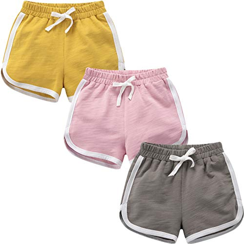 qtGLB Girls Shorts 3-Pack 100% Cotton Active Athletic Running Sleeping for Toddler Kids Big Girl's (8-10, Yellow-Pink-Grey)