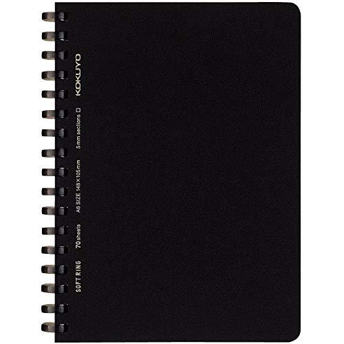 コクヨ ソフトリングノート ビジネス 方眼罫 A6 70枚 黒 ス-SV457S5-D 【まとめ買い5冊セット】